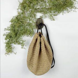 VTG Eddie Bauer Straw Market Sling Bag Backpack 🌿